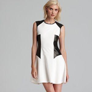 Tibi Italian Ponte Flirt Dress faux leather trim 4